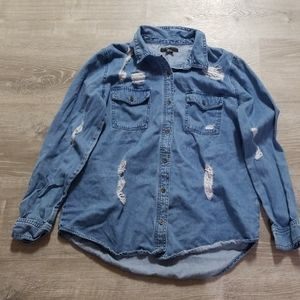 F21 denim button down.